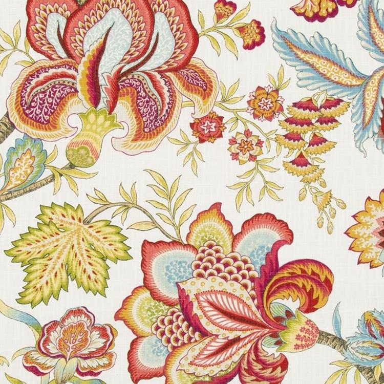 Jacobean swag coral robert allen fabric mahones wallpaper Coloring book fabric by the yard