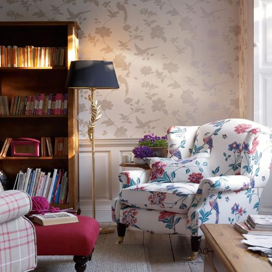 Farleigh NaturalLinen Laura Ashley Wallpaper - Laura ashley living room purple