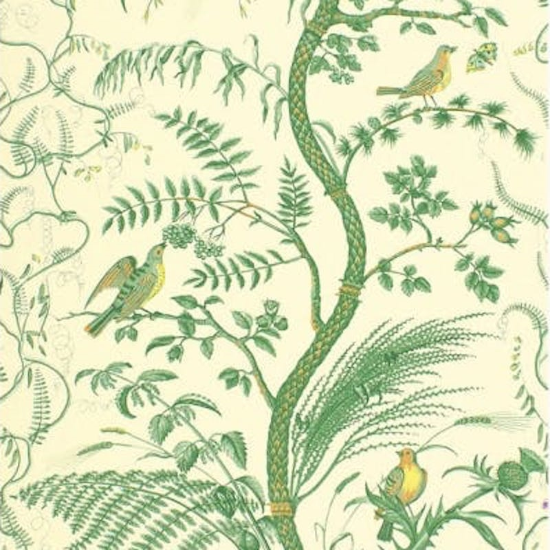 BR-69518.435 Bird And Thistle Green Brunschwig and