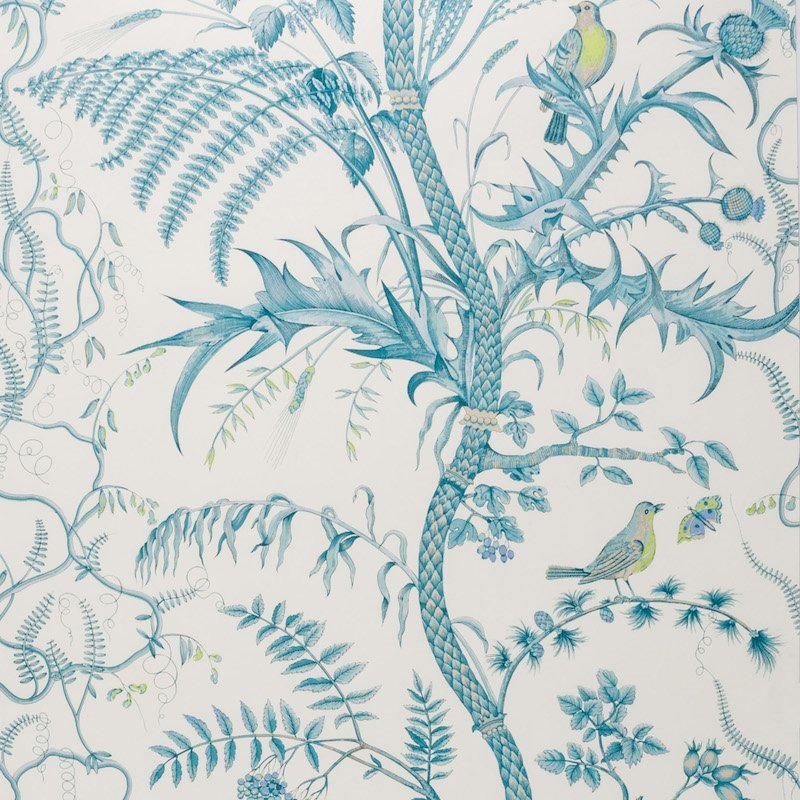 BR-69518.513 Bird And Thistle Aqua Brunschwig and